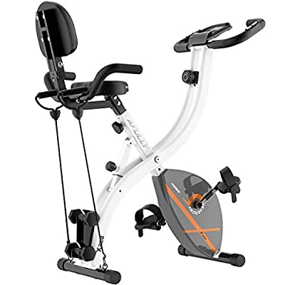 Afully Folding Magnetic Exercise Bike Adjustable Resistance Home Indoor Stationary Upright Cycling Bike With Arm Resistance Bands ,Dumbbells, LCD Monitor , 220 lb Max