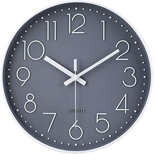 Taodyans - Reloj de pared silencioso de 12 pulgadas, reloj de cocina, de cuarzo, funciona con pilas, reloj de decoración del hogar, para oficina, clase, sala de estar, dormitorios (gris-blanco)