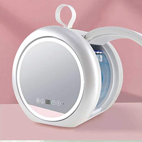 Mini Refrigerador 6 Litros AC / DC Refrigerador de Belleza Portátil Enfriador y Calentador Termoeléctrico para el Cuidado de La Piel, el Dormitorio y Los Viajes (diseño de Espejo y LED)