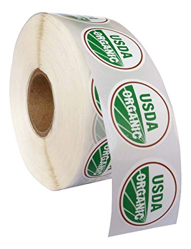 USDA Organic Labels 1 roll, 1000 Labels per roll 1 Inch Round Circle Dots 1000 Adhesive Stickers