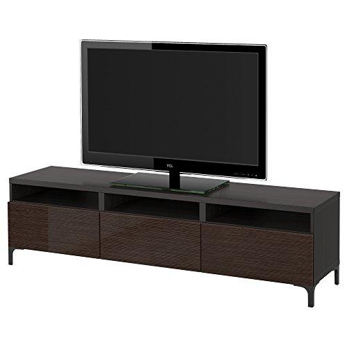 ZigZag Trading Ltd IKEA BESTA TV-Bank mit Schubladen, schwarz-braun/selsviken hochglänzend/braun