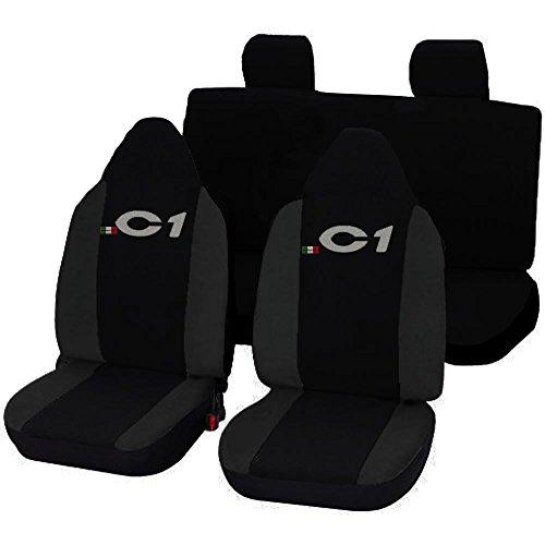 Lupex Shop 17239-01 Citroen C1 tweekleurige stoelhoezen - zwart donkergrijs