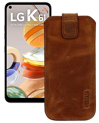Suncase Etui Tasche kompatibel mit LG K61 Hülle mit ZUSÄTZLICHER Hülle/Schale/Bumper Lasche mit Rückzugfunktion Handytasche Ledertasche Schutzhülle in antik-Coffee