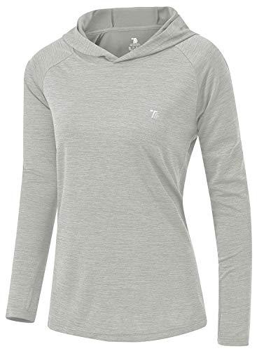 TBMPOY Womens UPF 50+ Sun Protection Hoodie Shirt Long Sleeve Fishing Hiking Outdoor UV Shirt Lightweight Light Grey M
