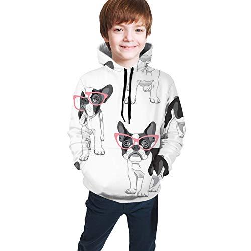 Camiseta larga con capucha para niños, diseño de toro francés, color rosa, con gafas, color blanco, para deportes al aire libre