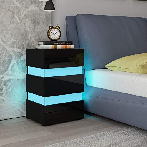 UNDRANDED Nachttisch Nachtschrank Kommode Konsole Hochglanz Schlafzimmer Beistelltisch Sofa Tisch mit 3 Schubladen LED Beleuchtung (Schwarz)