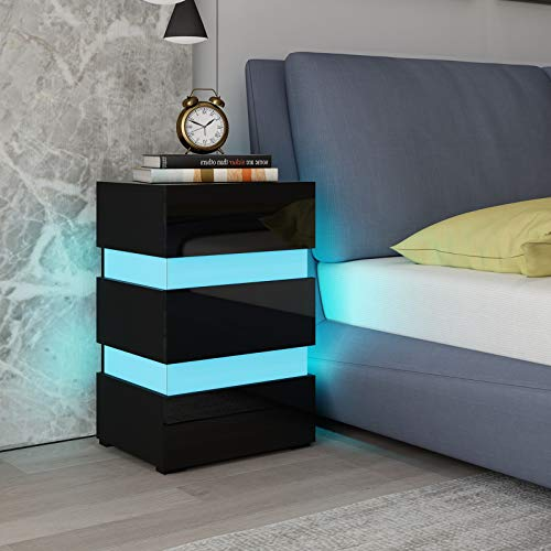 UNDRANDED High Gloss Bedside Table Cabinet Wooden Nightstand Unit Side Table Chest of 3 Drawers with RGB LED Light for Bedroom 45x35x67cm (Black)