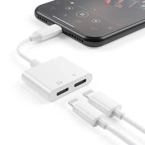 Kopfhörer-Adapter für iPhone 7 Kopfhörer-Adapter-Splitter für iPhone 8/8 Plus/X / 7/7 Plus/Xs/XsMax/XR Kopfhörer Musikadapter Ladekabel (Support Calling + Charge + Music + Control) Konverter Weiß