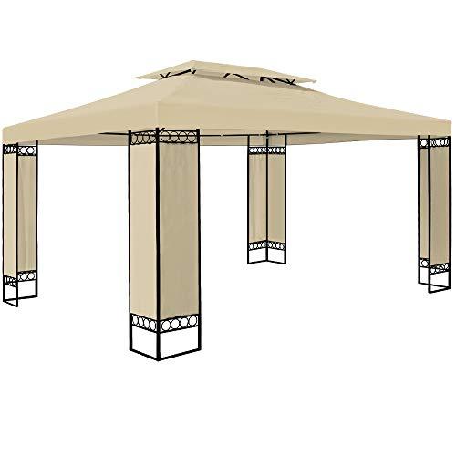 Deuba Pavillon Elda 3x4m Seitenwände Metall Gestell Eckig 12m² Festzelt Partyzelt Gartenlaube Gartenzelt Gartenpavillon Beige