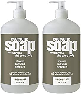 Everyone - 3 in 1 Bath Soap: Shampoo, Body Wash and Bubble Bath, Unscented - 32 Ounce (2 pack)