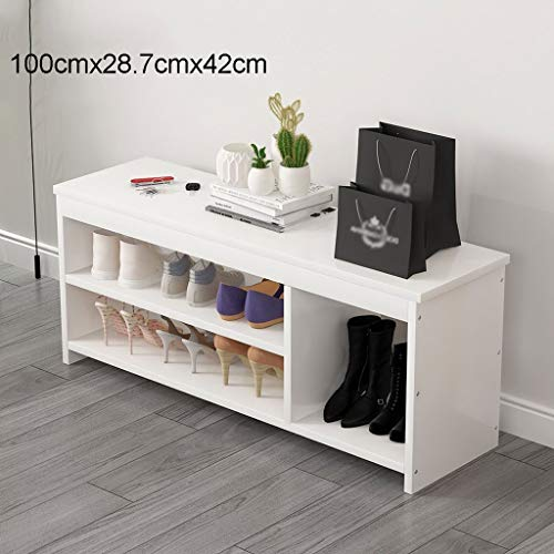 HHGO Witte schoenenbank met opslag, woonkamer multifunctionele houten moderne schoenenkast schoenenrek, geschikt voor ingang ingang