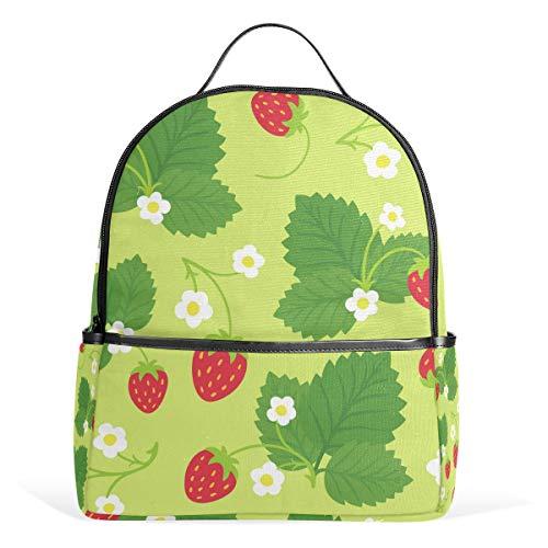 Orediy Kinder-Schulrucksäcke Erdbeersträucher Rucksack Büchertasche lässiger Tagesrucksack für Teenager Jungen Mädchen