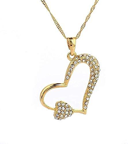 FACAIBA Collar Moda Clásico Circón Cristal Accesorios de joyería Corazón Estrella Color Dorado Colgante Collar Regalo
