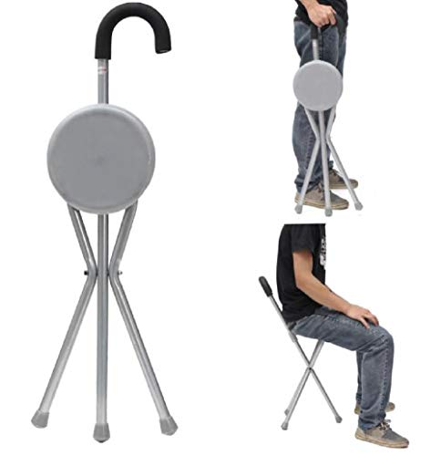 Outdoor Travel Folding Stool Chair Portable Tripod Cane Walking Stick Seat Camping Hiking [US Warehouse] by ShopIdea