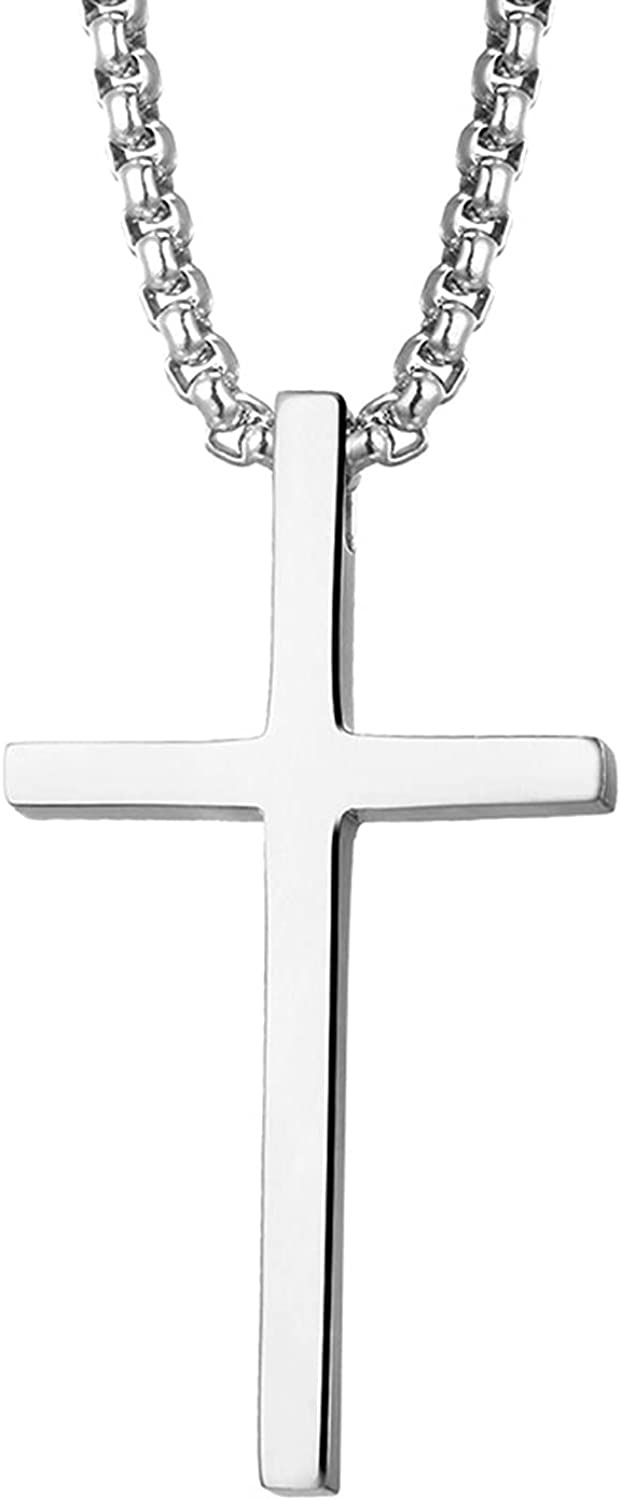 STARCHENIE Cross Necklace for Women Men Stainless Steel High Polished Simple Pendant Jesus Christ Jewelry for Couple