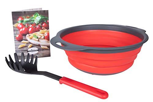 Kitchen Brothers Nudel-Sieb - Platzsparendes und faltbares Silikon-Sieb mit GRATIS Nudel-kralle und Pasta-Rezeptheft