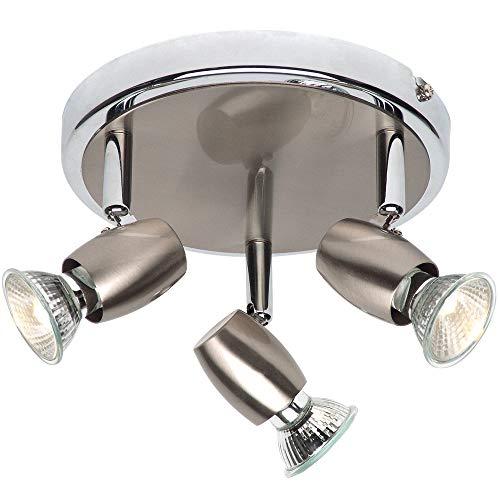 Justerbar huvud taklampa – borstad krom– trippel/3-vägs multiglödlampa GU10 rund nedljus – modern dimbar köksö/bänkskiva montering – 50 W Max & LED kompatibel