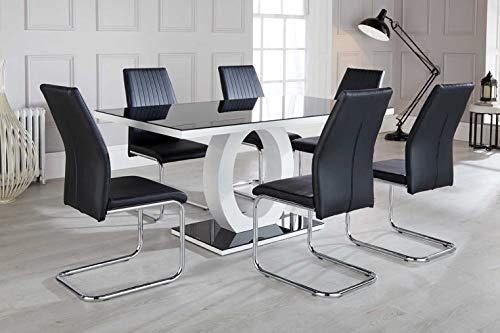 Giovani modernes schwarz/weiß Hochglanz Glas Esstisch Set und 6hochwertige Stühle Sitze, weiß / schwarz, Table + 6 Chairs
