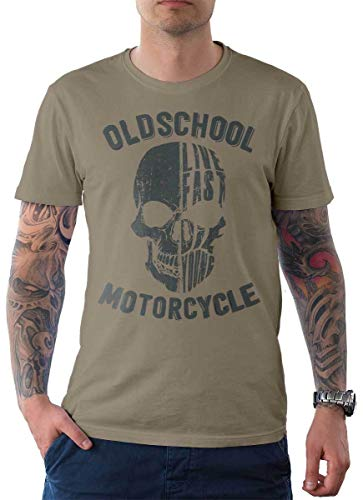 Rebel on Wheels heren T-shirt Tee Live Fast Motorcycle Oldschool Punisher Skull Doodskop Bike Biker