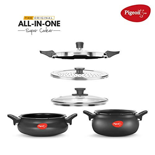 Pigeon by Stovekraft All In One Value Pack Hard Anodized Cooker Set 5Pieces Standard Black