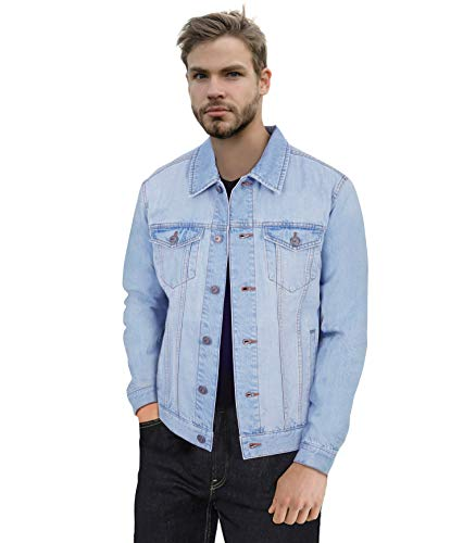 X RAY Mens Denim Jacket Washed Casual Trucker Jean Jacket for Men