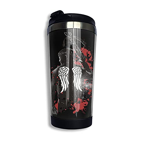 Walking Dead Daryl Dixon Wings and Crossbow Taza de café de acero inoxidable, taza de viaje, botella de agua para mantener caliente o frío 400 ml/13.5 oz