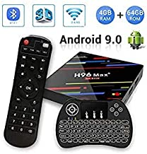Android 9.0 TV Box,H96 MAX+ Smart TV Box con RK3328 Quad Core CPU,4GB RAM/64GB ROM Admite 4K 3D 2.4GHz/5.0GHz WiFi Bluetooth 4.0 con Mini Wireless Backlight Keyboard