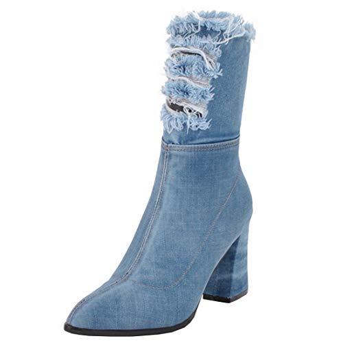 Artfaerie Damen Canvas High Heels Boots Blockabsatz Denim Halbschaft Stiefel mit Reißverschluss und...