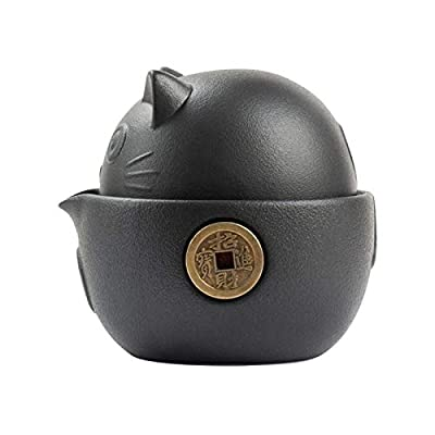 Cat Series Travel Portable Ceramic Tea Set with Tea Pot Tea Cups Travel Bag Outdoor Portable Car Teapot for Office Home Travel