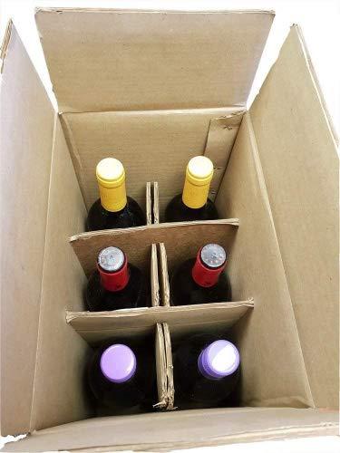 Caja de almacenamiento para botellas de vino y cerveza, 6 unidades, con separadores para el cuello, doble pared, caja de correo – Paquete de 10 cajas