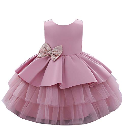 Agoky Baby Mädchen Kleider Festlich Partykleid Ärmellos Sommer Taufkleid Hochzeits Blumenmädchenkleider Festzug Geburtstag Outfits Rosa 2-3 Jahre