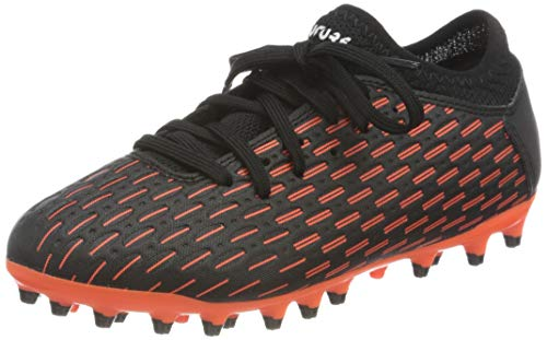PUMA Future 6.4 MG JR, Zapatillas de fútbol, Negro Black White/Shocking Orange, 28 EU