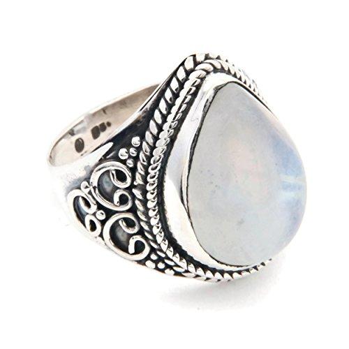 Anillo de plata de ley 925 Piedra de luna (No: MRI 107)