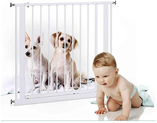 Stair gates Metal Adjustable Baby Pet Safety Gate Stair Gate Auto-Close with Pressure Mount Expandable Stands 75cm tall The width can be selected from 76 to 210cm ( Color : High75cm , Size : 83-90cm )