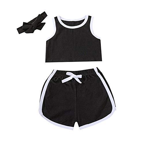 Traje Deportivo de Verano de 2 Piezas Baby Girl Baby Girl Soft Top Mangas+Pantalones Cortos elásticos con Rayas+Diadema (Negro, 110)