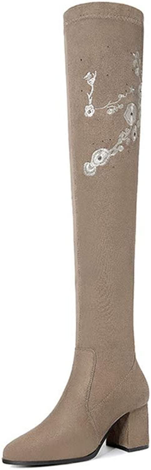 Ladies Long Boots, Thick Heel Slim High Tube Elastic Boots Women's Thigh High Over The Knee Fashion Boots (color   B, Size   36)