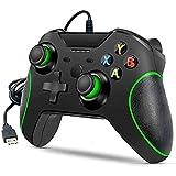 ML S HJDY Controlador con Cable para Xbox One, Controlador de Juegos con Cable USB Gamepad con Doble vibración y Conector para Auriculares, Compatible con Windows y X One/PC,Negro