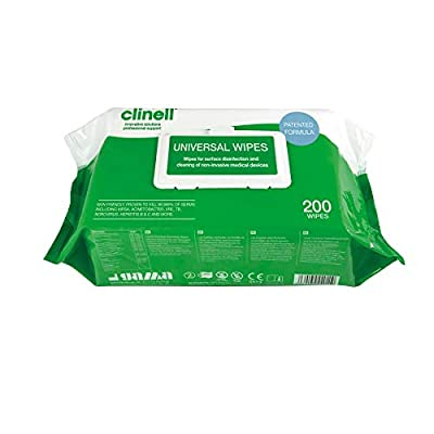 Clinell Universal Sanitising Wipes, Pack of 200 from Nutwell
