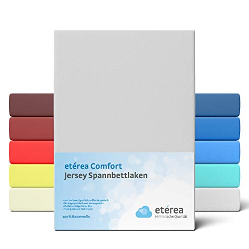 etérea Comfort Jersey Fitted Sheet 90 x 200 to 100 x 200 cm Soft 100% Cotton Fitted Sheet with Approx. 25 cm Base Height and 140 g/m² Silver