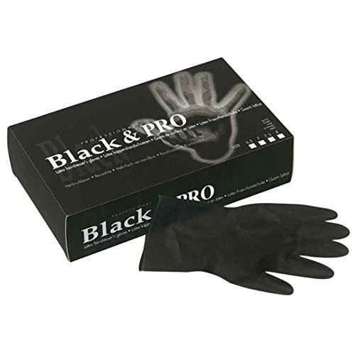 Sibel Guanti da Parrucchieri Black & Pro in lattice, taglia M, Nero, Confezione da 20