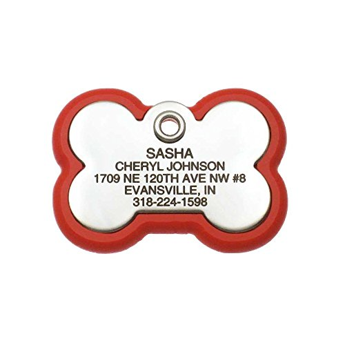 LuckyPet Pet ID Tag, Bone Frame Tag, Rugged Dog Tags with Colorful Frame, Custom Engraved, Medium, Red & Stainless