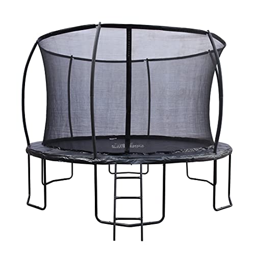ZERO GRAVITY 12ft Ultima 4 High Spec Trampoline with Safety Enclosure Netting and Ladder (12ft Black)