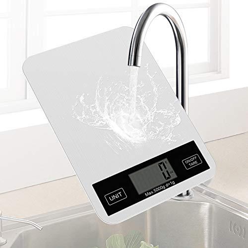 Redmoo Báscula de Cocina, balanza electrónica, balanza electrónica 5kg con Pantalla LCD, báscula de Cocina Profesional de Acero Inoxidable, precisión de hasta 1g,función de conteo de Piezas