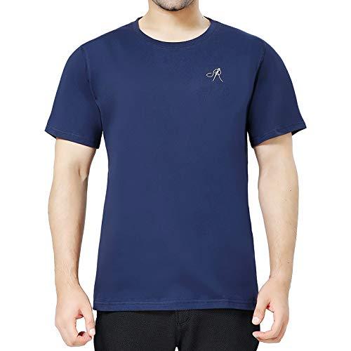 POPINDEX Navy Blue T Shirts for Men Short Sleeve Tee Undershirt (100% Cotton, L)