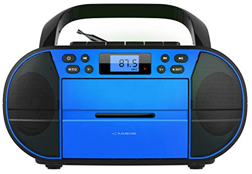 CD-Player mit Kassettendeck | Tragbares Stereo Radio | Kinder Radio | Stereo Radio | USB | CD/MP3 Player | Radio | Kopfhöreranschluss | Aux in | LCD-Display | (Deep Ocean Blue)