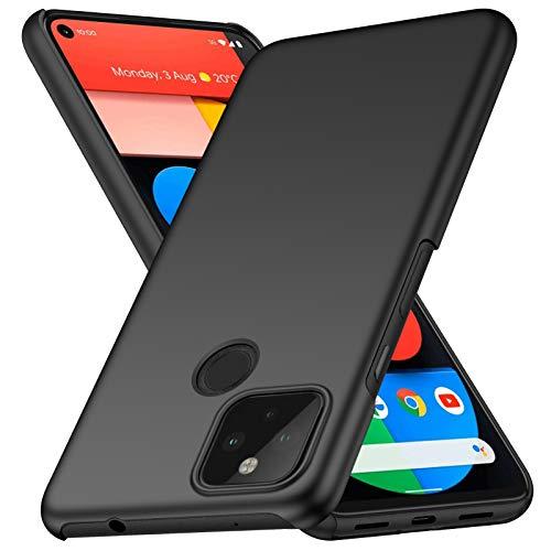 ORNARTO Hülle für Pixel 5 5G, Ultra Dünn Schlank Anti-Scratch FeinMatt Einfach Handyhülle Abdeckung Stoßstange Hardcase für Google Pixel 5 5G(2020) 6,0 Zoll Schwarz