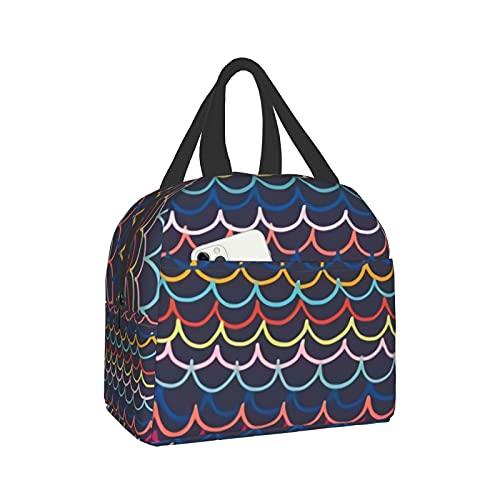 mengmeng Rainbow Waves - Bolsa de almuerzo aislada para mujer, bolsa de almuerzo a prueba de fugas para hombres y niñas niños al aire libre picnic trabajo