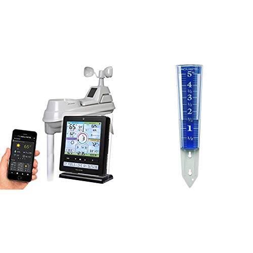 AcuRite Wireless Home Station (01536) with 5-1 Sensor and Android iPhone Weather Monitoring & 00850A2 5-Inch Capacity Easy-Read Magnifying Rain Gauge, Blue,12.5-inch