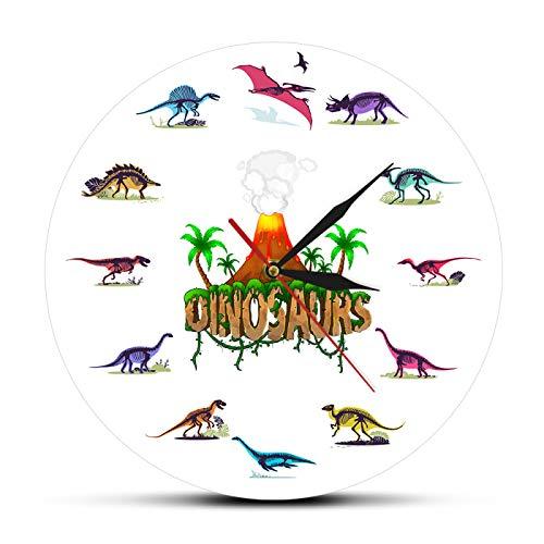gongyu Dino Skeletons Colorido Reloj de Pared de acrílico Impreso Erupción volcánica con Dinosaurios Fósiles Decoración de guardería Reloj de Pared de Aula
