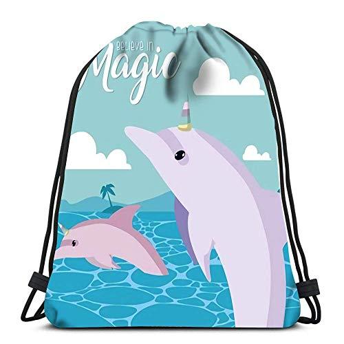 IUBBKI Mochila con cordón para creer en la magia con diseño de dibujos animados de la isla y delfines para la escuela o de viaje